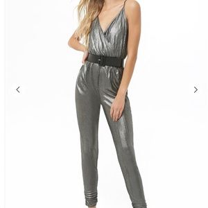 Forever 21 metallic knit jumpsuit NWT silver